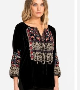 Nwt Johnny Was embroidered Velvet blouse  Small